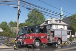 Farmingdale Engine 921 on the scene of a reported building fire at the Farmingdale Post Office on Main Street [5-25-20].