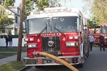Hicksville Engine 932 on the scene of a house fire on Lenox Avenue in Hicksville [5-21-20].