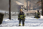 An assistant chief of the Massapequa Fire Department on the scene of a working tanker truck fire in Massapequa on February 16th, 2014.