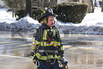 A firefighter on the scene of a working tanker truck fire in Massapequa on February 16th, 2014.