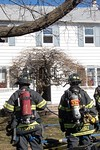 Malverne firefighters on the scene of a working fire on Hamilton Avenue in Valley Stream [2-20-17].