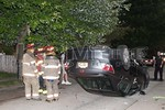 June 23rd, 2017: At 19:46 hours the Freeport Fire Department was called to a motor vehicle accident with overturn and possible pin at the intersection of Raynor and Bedell Streets.  When firefighters arrived on scene they found an overturned Honda sedan in the middle of Raynor Street between Bedell and South Main Streets.  There was no entrapment and one person was injured in the accident.  All fire department units were under the command of Freeport Chief of Department Matt Colgan [2100].