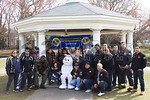 Members of the Lakeview Fire Department and West Hempstead Lions Club at Halls Pond for the annual Easter egg hunt and photos with the Easter bunny [3-19-16].