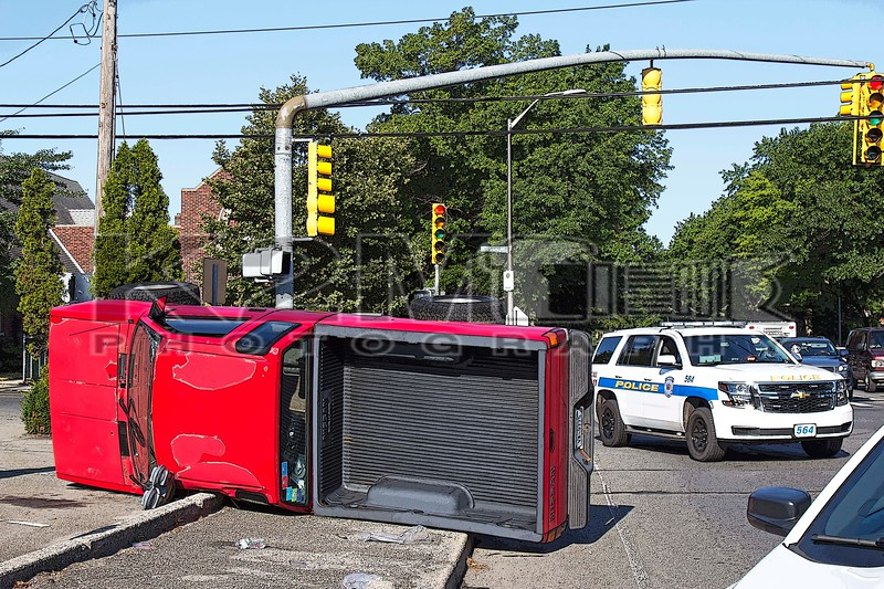 Friday, July 31st, 2015: The Lynbrook Fire and Police Departments were called to the intersection of Peninsula Boulevard and Hempstead Avenue for a motor vehicle accident with overturn.  When first responders arrived on scene they were met with a two car accident with one vehicle overturned.  No extrication was required and one person was transported to an area hospital.