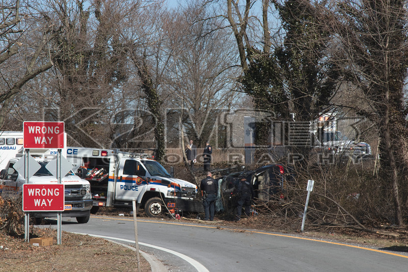 Saturday, March 20th, 2021: The North Massapequa Fire Department and NCPD ESU operated on the scene of a single vehicle accident with overturn. The vehicle was traveling in the southbound lanes of the Seaford Oyster Bay Expressway when it left the roadway and rolled onto the off ramp for the Hicksville Road exit. The driver, the only occupant inside the vehicle, did not survive.