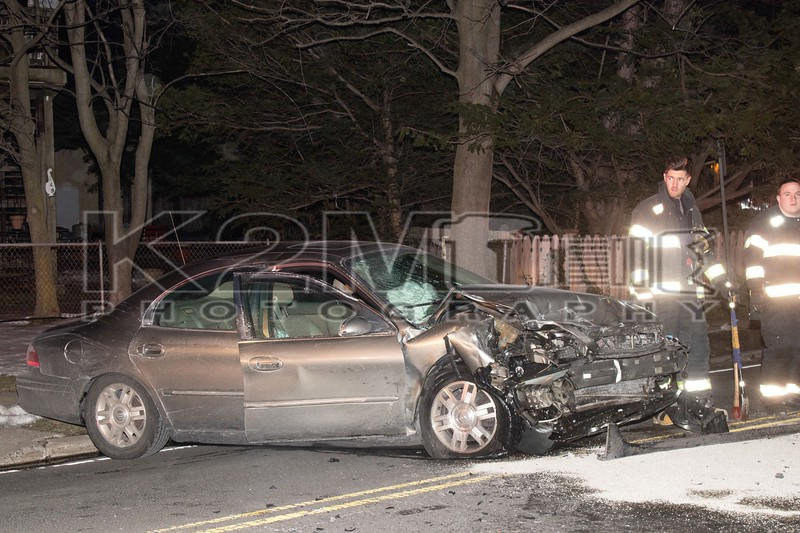 Saturday, March 18th, 2017: In the early morning hours, the Rockville Centre Fire Department operated on the scene of a two car, head on accident in front of 150 Lincoln Avenue.  The accident resulted in at least four aided – all considered non-life threatening.  All fire department units were under the command of Rockville Centre Chief of Department Seaman [4401].
