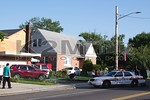 Thursday, July 14th, 2016: Uniondale firefighters and Nassau County Police were on the scene of this motor vehicle accident that sent one car into the front steps of a residence.  The accident was located at the corner of Uniondale and Newton Avenues.