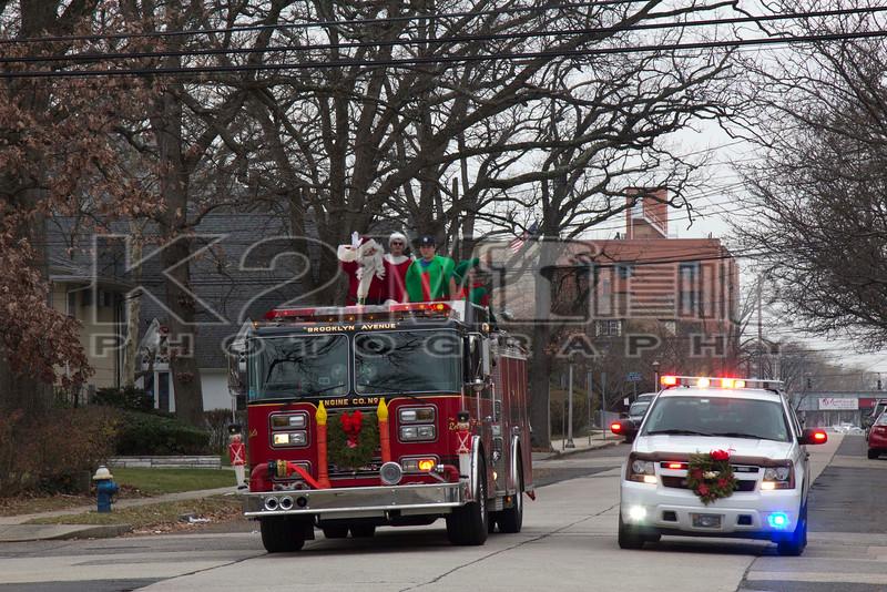Sunday, December 21st, 2014: Members of Valley Stream Engine 2 returning from their annual Santa Run.