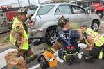 Sunday, September 25th, 2011: Wantagh firefighters operated on the scene of a car leaking gas at the intersection of Sunrise Highway and Wantagh Avenue.