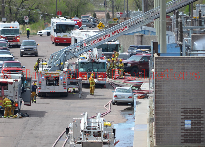 Colorado Springs Fire Fighters, along with mutual aid companies, work to bring fire under control at Martin Drake Power Plant.  Date of Incident-May 5, 2014
