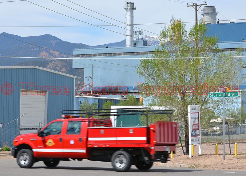 Colorado Springs FD Utility Truck responding to a 4-alarm fire at Martin Drake Power Plant.