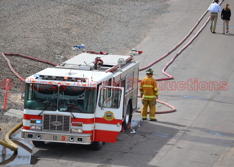 Colorado Springs Fire Department's Engine 3 assigned to water supply for a 4-alarm power plant fire.