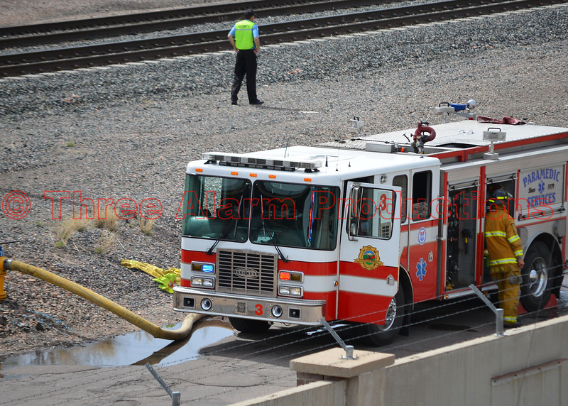 Colorado Springs Fire Engine 3 providing some of the water supply on the Walter Drake Power Plant fire. Date of Incident-May 5, 2014