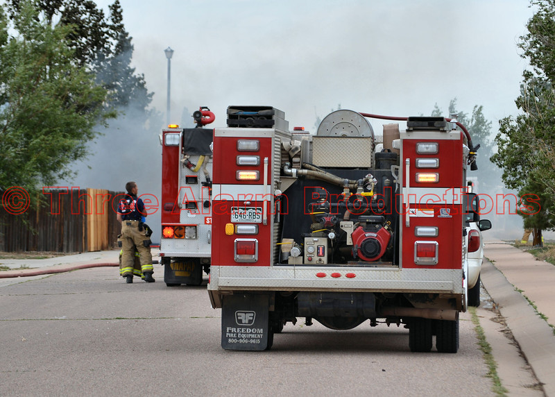 Multiple fire departments on scene of a detached garage fire, with multiple exposures involved on Wheat Street. Ellicott, Colorado, June 16, 2014<br /> Automatic aid companies that responded: Hanover FD, Tri-County FD, and Edison FD.
