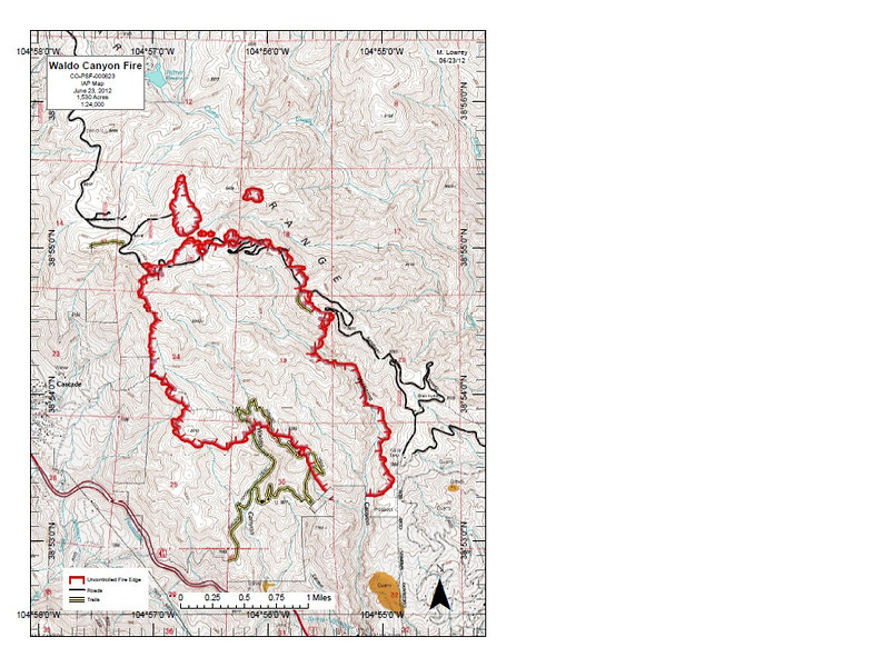 """Waldo Canyon Fire Incident Map June 23rd, 2012.  Map via: <a href=""""http://www.inciweb.org/"""">http://www.inciweb.org/</a><br /> <br /> Incident Type: Wildfire<br /> Cause: Under Investigation<br /> Date of Origin: Saturday June 23rd, 2012 approx. 12:00 PM<br /> Location: Pike National Forest, El Paso County<br /> Incident Commander: Rich Harvey<br /> <br /> Investigators are seeking the public's help for possible leads to the exact cause of the Waldo Canyon Fire. U.S. Forest Service Investigators are looking for people who were in the Waldo Canyon area at or around time of ignition and may have seen something that will help the investigators. If you were in the Waldo Canyon or Pyramid Mountain area on Friday 6/22 or Saturday 6/23 please call 719-477-4205 and leave your name, contact number and someone will return your call. Investigators are hoping that with the public's help, they can determine the cause of the Waldo Canyon Fire."""