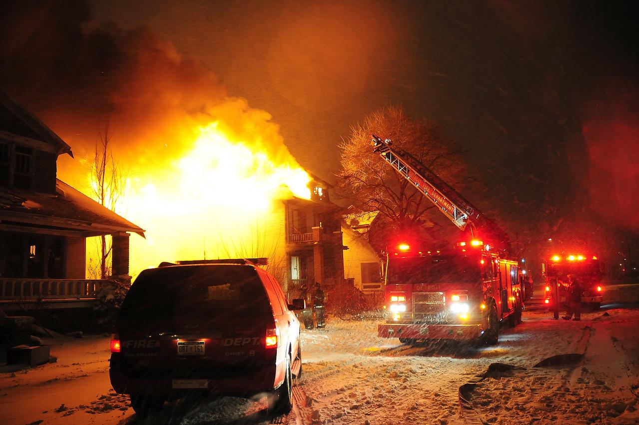 Detriot, MI  Box Alarm  Georgia & Van Dyke  Heavy fire on arrival during a snow storm
