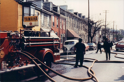 Engine 4 pumping during the fire. Photographer unknown