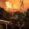 LACoFD Engine 27 on structure protection on Elizabeth Lake Road, Lake Fire. 08-12-2020