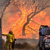 Rye Fire LACoFD E329 Capt talks with Patrol 97 in Valencia Travel Village 12-05-2017