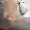 Sand IC Day 3 Heli Tender drops on spot fire on Placerita Cyn 07-24-2016