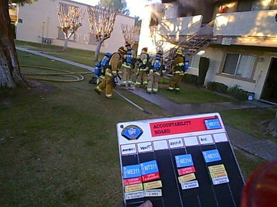 Tachyon, Inc Photo ME311 MT311 ME312 ME314 ME301 BC147 responded to a structure fire in an apartment complex. First in engine found one unit on the second floor well involved and started a 2nd alarm. Fire was contained to one unit.  This was the location of a previous training involving the use of a deep stretch hose lay, this fire however did not require such an evolution.