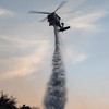 Tick Fire LACoFD FireHawk 19 makes late afternoon water drop in Canyon Country, Oct. 24, 2019