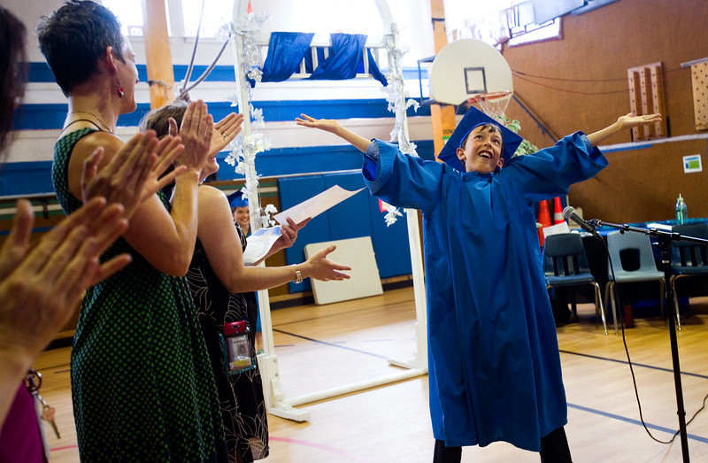 "Jacob Valladares introduces himself to the crowd during the 5th grade continuation ceremony at University Hill Elementary on Thursday.<br /> More photos:  <a href=""http://www.dailycamera.com"">http://www.dailycamera.com</a><br /> (Autumn Parry/Staff Photographer)<br /> May 26, 2016"