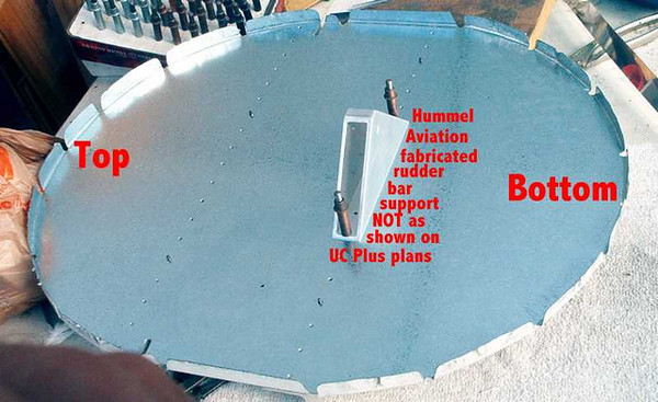 """Bare Firewall or Bulkhead """"A"""" with rudder bar support in place"""