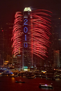 2010 New Year Eve Fireworks, Hong Kong IFC Building