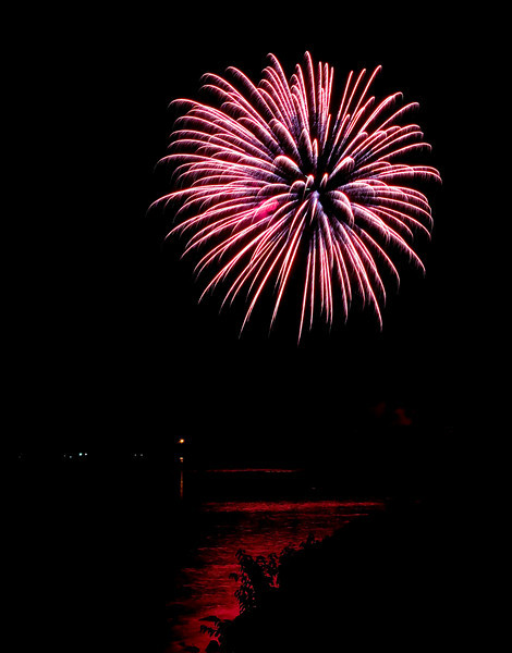 fireworks over lake harding