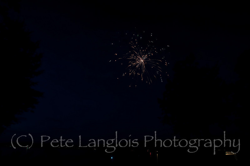 These fireworks pictures were taken with a Nikon D300s and using 2 lenses after the first couple of shots I switched from a 18-200mm Sigma OS to a Tokina 11-16mm f/2.8.  They were all taken in Sanbornton, NH from a friends backyard over looking Lake Winnisquam.  The shots were using aperture settings in the f11-f9 range at ISO 100 for 8-10 seonds each.