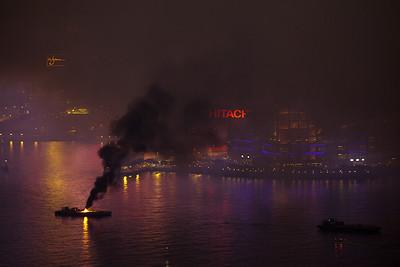 Firework boat on fire!