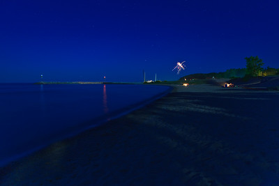 Leland Beach At Night On The Fourth Of July