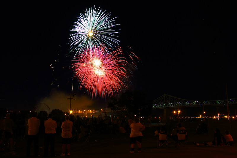 Watching Fireworks by Jacques-Cartier Bridge, Montreal