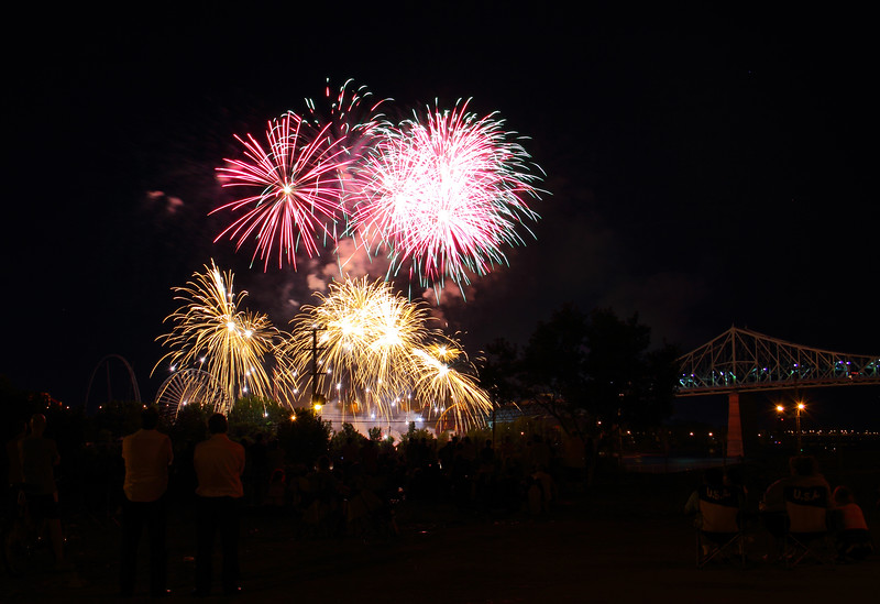 Fireworks Pink, Yellow by Jacques-Cartier Bridge
