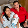 Mother, Rosa Minchalamora and father, Galo Lopez with their newborn baby Nayeli Abigail Lopez, the first baby born in 2014 at Holy Name Medical Center in Teaneck, NJ. Nayeli was born at 12:20AM on January 1, 2014. 1/2/14 Photo By Jeff Rhode / Holy Name Medical Center