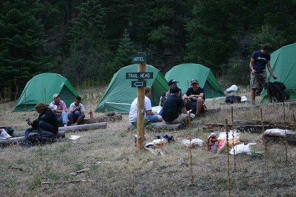 It's very important to camp near a sign in case you are disoriented the next morning.