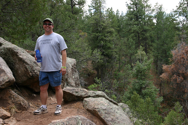 David Martin's smile hides the excruciating pain of our hike to Pulpit Point.