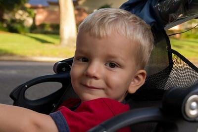 Zachary waiting for Matthew and Nicholas' bus.