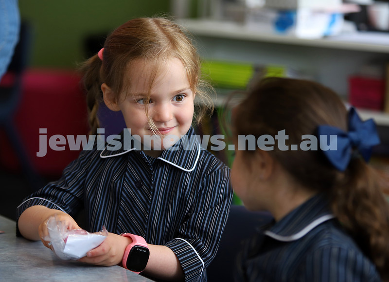 Tehilla Joffe making new friends on her first day of prep at Beth Rivkah Ladies College. Photo: Peter Haskin