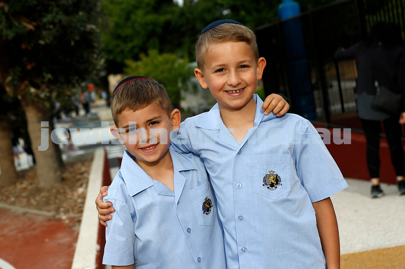 Birthday boy and first day of prep for Billy Norich (left) with big brother Jay at Mt Scopus College. Photo: Peter Haskin