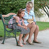 Stella Svolis sits with her Grandmother Sarah Svolis on the bench outside the Crocker Elementary School just before she started the first day of First Grade. SENTINEL & ENTERPRISE/JOHN LOVE