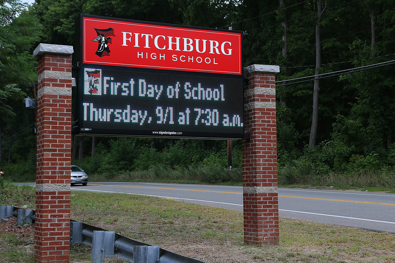 The Fitchburg High School sign on September 1, 2016 the first day of the 2016-17 school year. SENTINEL & ENTERPRISE/JOHN LOVE