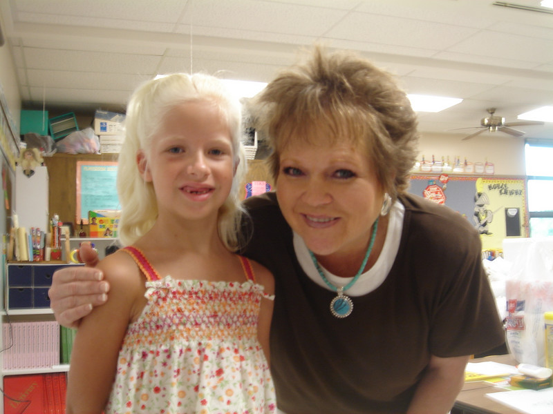 First day of 2nd grade (August 28, 2007), with Mrs. Bishop.