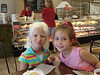Snacks at the bakery with Abbie after 1st day of 1st grade (August 15, 2006)