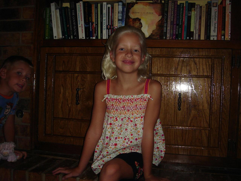 First day of 2nd grade (August 28, 2007)...with Owen lurking.
