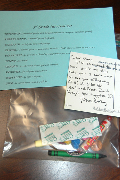 Survival Kit from Mrs. Bentley (8.18.11)