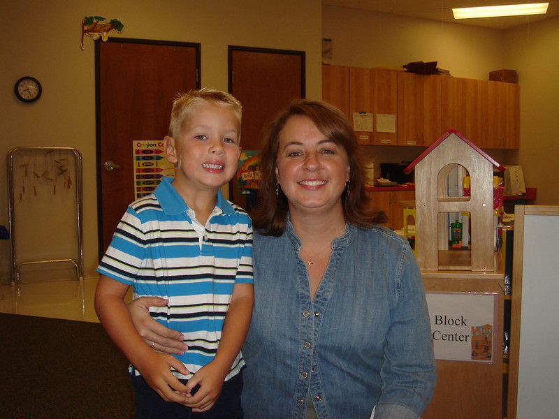 1st day of Pre-K at Trinity Baptist (September 5, 2007) with teacher Mrs. Jennifer.