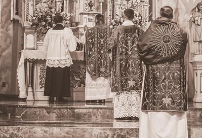 FSSP LatinMass St  Marys 3 altar priests b+w-1