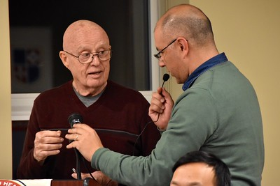 Fr. Mac gets a little help with the mic